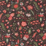 Moda Quill by 3 Sisters - 5602 - Flourish, Coral Floral on Charcoal - 44153 13 - Cotton Fabric